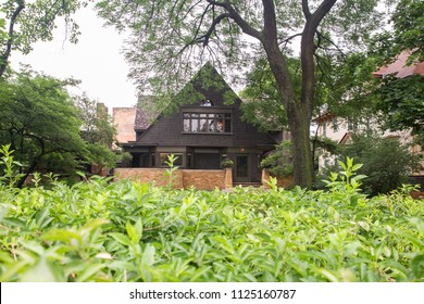 OAK PARK, ILLINOIS - JUNE 23, 2018:  View of home and studio of influential architect Frank Lloyd Wright as seen from the outside.