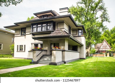 OAK PARK, ILLINOIS - JUNE 25, 2018:   View of house designed by architect Frank Lloyd Wright. This is the Edward R. Hills House, aka the Hills–DeCaro House which is located at 313 Forest Ave.