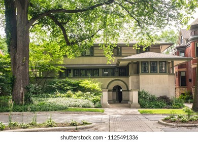 OAK PARK, ILLINOIS - JUNE 25, 2018:   Street view of the The Frank Thomas Home designed by renowned architect, Frank Lloyd Wright.