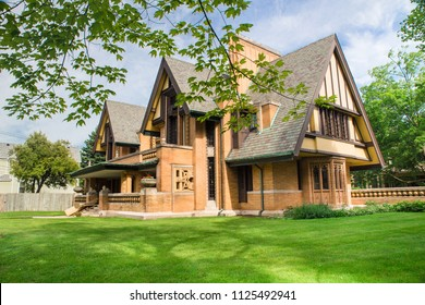 OAK PARK, ILLINOIS - JUNE 25, 2018:  View of the The Nathan G. Moore House also known as the Moore-Dugal Residence designed by Frank Lloyd Wright.