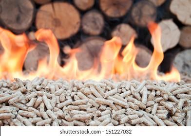 Oak Pellets in flames- stock photo