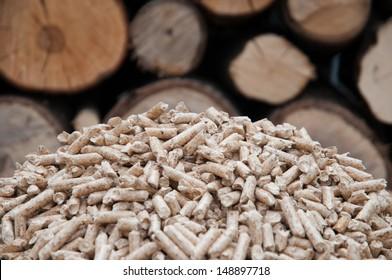 Oak pellets in front wooden wall