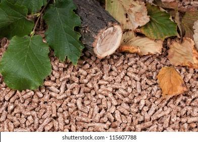 Oak pellets and materials pellets made