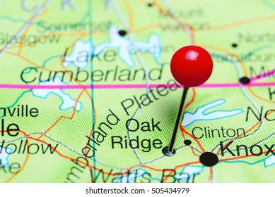 Oak Ridge pinned on a map of Tennessee, USA