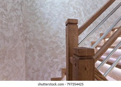 Oak stair posts and decorative wall cover - handmade