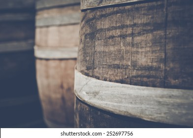 Oak Wine Barrel Close Up with Retro Film Instagram Style