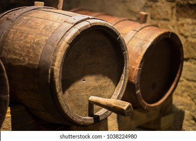 Oak wine barrels in the a wine cellar