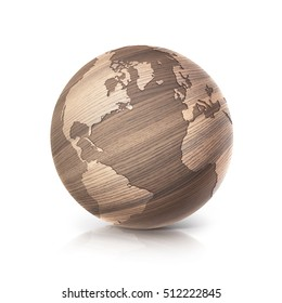 oak wood globe 3D illustration north and south america map on white background