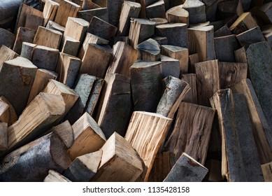 Oak wood lumber timber logs firewood stack