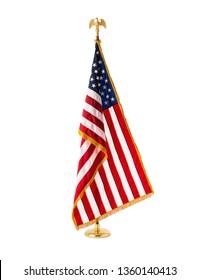 Oak Wooden Pole Indoor USA National Flag