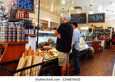 Oakdale, CA, USA August 22, 2013 Two adults order their lunches from an Artisan bakery in Oakdale, California in the Napa Valley