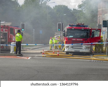 Oakengates,Shropshire/England - Sept 14 2015:Emergency services attending a Fire at the  Claddagh Pub in Oakengates