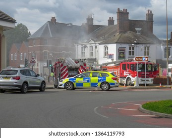 Oakengates,Shropshire/England - Sept 14 2015:Fire at Claddagh Pub attended by all the emergency services