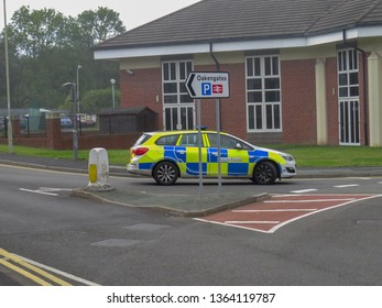 Oakengates,Shropshire/England - Sept 14 2015:Police car attending the fire at the Claddagh Pub in Oakengates.