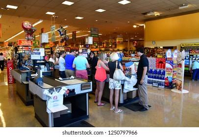 Oakhurst, USA - july 12 2016 : checkout in a supermarket