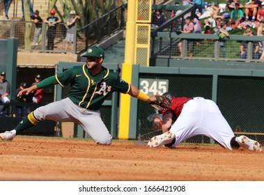 The Oakland Athletics  vs the Arizona Diamondbacks at Salt River Fields in Scottsdale,Arizona/USA February 23,2020.