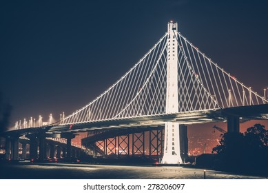 Oakland Bay Bridge During Night Hours. Oakland Bridge Illumination.