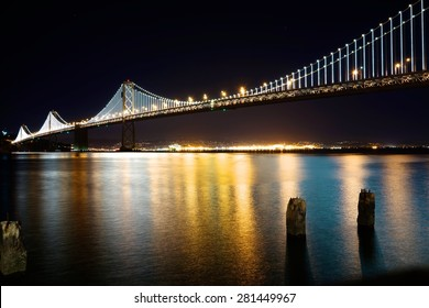 Oakland Bay Bridge at Night long exposure.