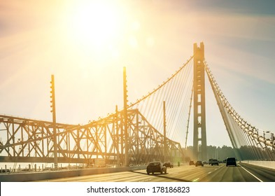 Oakland Bay Bridge in San Francisco before Sunset
