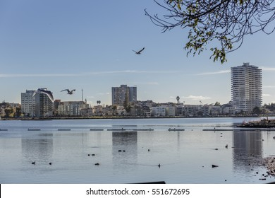 Oakland, CA; Adams Point and Lake Merritt Lakeshore with amazing view.