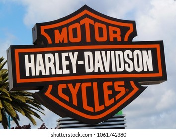 Oakland, CA - April 15, 2012:  Harley - Davidson is an American motorcycle manufacturer, founded in Milwaukee, Wisconsin in 1903.