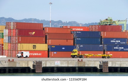 Oakland, CA - August 11, 2018: Matson Terminal at the Port of Oakland with thousands of shipping containers stacked awaiting cargo ships.