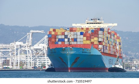 Oakland, CA - August 16, 2017: Cargo Ship MAERSK ALTAIR entering the Port of Oakland, the fifth busiest port in the United States. Maersk is the world's largest container shipping company