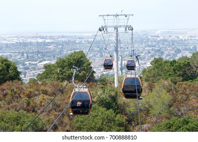 Oakland, CA - August 18, 2017: Oakland Zoo's highly anticipated aerial gondola and hilltop restaurant, The gondola ride now runs to the top of the hill with breathtaking view of the cities below.
