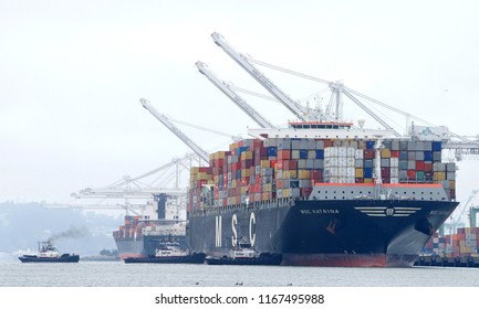 Oakland, CA - August 20, 2018: Multiple Tugboats assist MSC KATRINA to maneuver into the Port of Oakland. Mediterranean Shipping Co(MSC) is the worlds 2nd largest shipping line in vessel capacity.