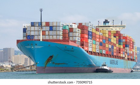 Oakland, CA - August 21, 2017: Cargo ship GJERTRUD MAERSK entering the Port of Oakland. Maersk  is the world's largest container shipping company.