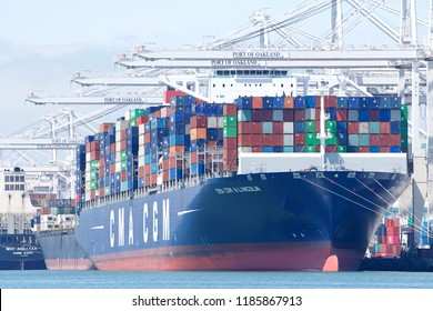 Oakland, CA - August 26, 2018: Cargo Ship CMA CGM A LINCOLN loading at the Port of Oakland. Compagnie Generale Maritime (CMA CGM) is the third largest shipping company in the world.