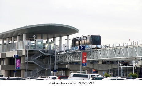 Oakland, CA - December 12, 2016: The San Francisco Bay Area Rapid Transit train, referred to as BART has new service to Oakland International Airport from the Coliseum BART station in Oakland.