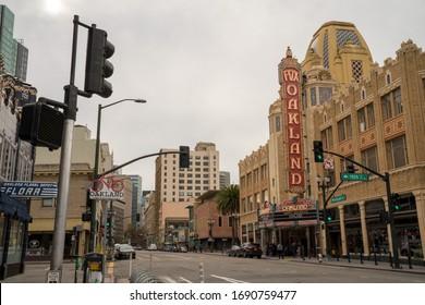 Oakland, CA December 21, 2019: Famous Fox Oakland Theatre concert hall front entrance during entrance