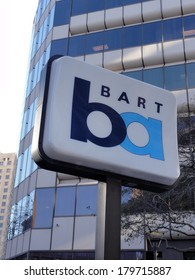 OAKLAND, CA - FEB 22 : BART sign marks station in Oakland, California on February 22, 2011. BART Provides regional rail service in the San Francisco Bay Area.