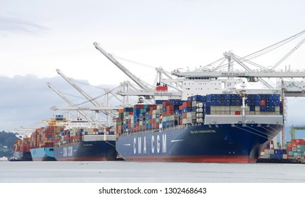 Oakland, CA - February 01, 2019: Cargo Ship CMA CGM G. WASHINGTON loading at the Port of Oakland. Compagnie Generale Maritime(CMA CGM)is the 3rd largest shipping Co in the world.