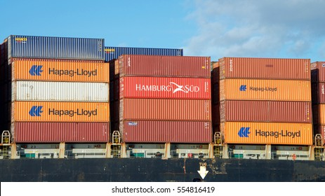 Oakland, CA - January 01, 2017: Shipping containers are organized and placed algorithmically for efficient transport. Most modern container ships can carry up to 16,020 twenty-foot equivalent units.