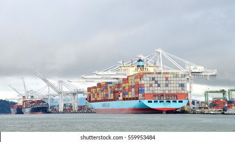 Oakland, CA - January 12, 2017: The Port of Oakland loads and discharges more then 99 percent of containerized goods moving through Northern California, the nations fourth largest metropolitan area.
