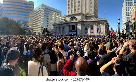 Oakland, CA - January 27, 2019: Thousands attend rally for California Senator Kamala Harris in Oakland as she formally  kicks off her Presidential campaign for the 2020 election.