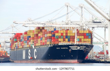 Oakland, CA - January 28, 2019: Cargo Ship MSC VANDYA performing life boat drills while docked loading at the Port of Oakland.