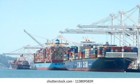 Oakland, CA - July 10, 2018: The Port of Oakland loads and discharges more then 99 percent of containerized goods moving through Northern California, the nations fourth largest metropolitan area.