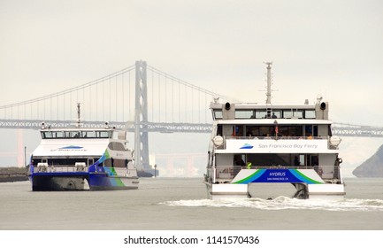 Oakland, CA - July 23, 2018: Ferries ARGO and HYDRUS. The San Francisco Bay Ferry provides passenger service from Oakland and Alameda to the Ferry Building, Pier 41, Angel Island and Oyster Point.