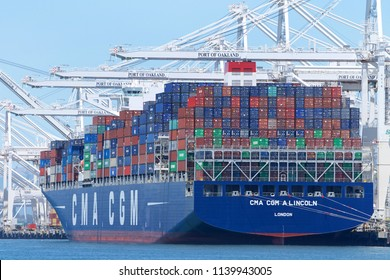 Oakland, CA - June 02, 2018: Cargo Ship CMA CGM A. LINCOLN loading at the Port of Oakland. Compagnie Generale Maritime (CMA CGM) is the third largest shipping company in the world.