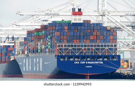 Oakland, CA - June 19, 2018: Cargo Ship CMA CGM G. WASHINGTON loading at the Port of Oakland. Compagnie Generale Maritime (CMA CGM) is the third largest shipping company in the world.