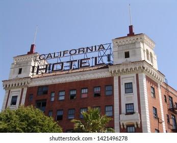 Oakland, CA - June 7, 2019: Old vintage California Hotel in Oakland, California.