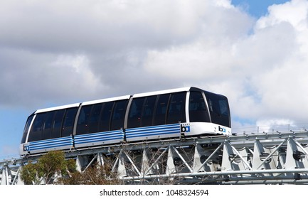 Oakland, CA - March 16, 2018: San Francisco Bay Area Rapid Transit train, referred to as BART, newest service to Oakland International Airport from the Coliseum BART station in Oakland.