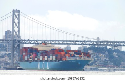 Oakland, CA - May 16, 2018: Cargo Ship MOL MAJESTY entering the Port of Oakland, the fifth busiest port in the United States.