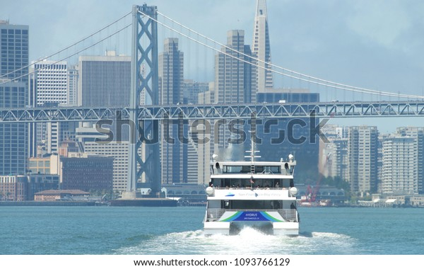 Oakland, CA - May 17, 2018: The San Francisco Bay Ferry provides passenger service from Oakland and Alameda to the Ferry Building, Pier 41, Angel Island, and Oyster Point in San Francisco.