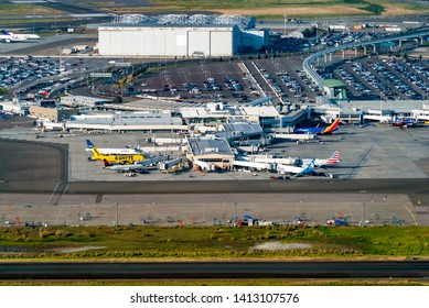 OAKLAND, CA - MAY 1st 2019: Aerial view of Oakland International Airpot in Oakland, CA
