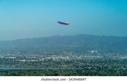 OAKLAND, CA - MAY 1st 2019: A Southwest Airlines airplane departs Oakland International Aiport