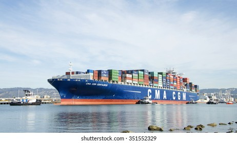 OAKLAND, CA - NOVEMBER 18, 2015: CMA CGM CENTAURUS entering the Port of Oakland. Compagnie Generale Maritime is the third largest shipping company in the world.